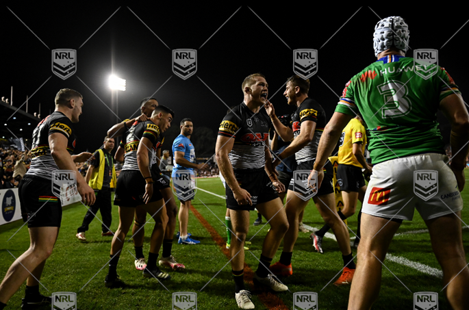 NRL 2021 RD05 Penrith Panthers v Canberra Raiders - Charlie Staines, try, Celeb into fight